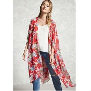 M - Forever 21 Red Floral Kimono Cover Up